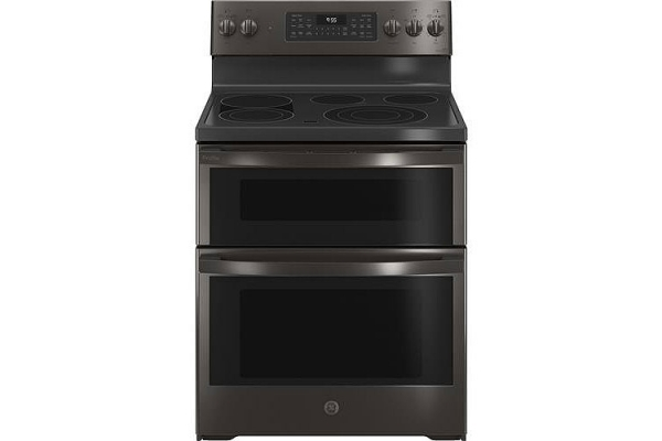 """Large image of GE Profile 30"""" Fingerprint Resistant Black Stainless Steel Smart Electric Double Oven Convection Range With No Preheat Air Fry - PB965BPTS"""