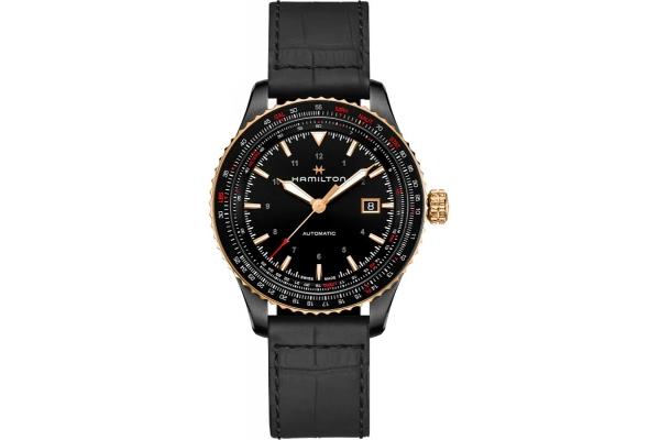 Large image of Hamilton Khaki Aviation Converter Black Dial Leather Watch, 42mm - H76635730