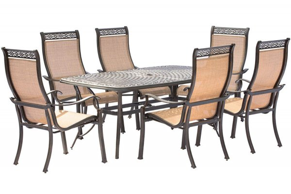 """Large image of Hanover Manor 7-Piece Outdoor Dining Set In Tan/Bronze With 6 Dining Chairs, 72"""" x 38"""" Cast-Top Table - MANDN7PC"""