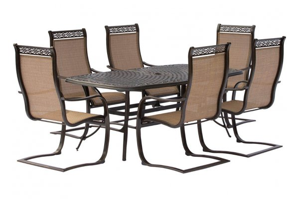"""Large image of Hanover Manor 7-Piece Outdoor Dining Set In Tan/Bronze With 6 C-Spring Chairs, 72"""" x 38"""" Cast-Top Table - MANDN7PCSP"""
