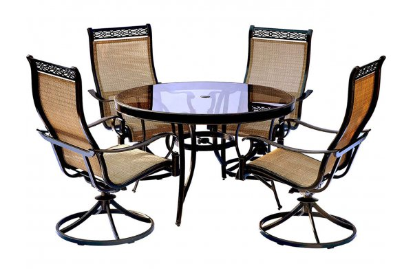 """Large image of Hanover Monaco 5-Piece Outdoor Dining Set In Tan/Bronze With 4 Sling Swivel Rockers, 48"""" Glass-Top Round Table - MONDN5PCSWG"""