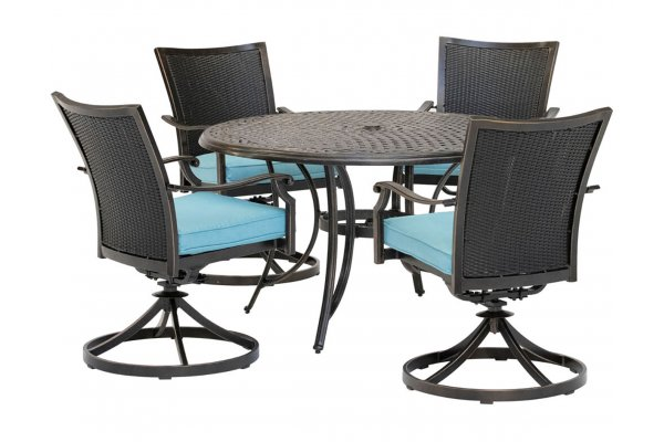 """Large image of Hanover Traditions 5-Piece Outdoor Dining Set In Blue/Bronze With 4 Wicker Back Swivel Rockers, 48"""" Round Cast Table - TRADDNWB5PCSWCBLU"""