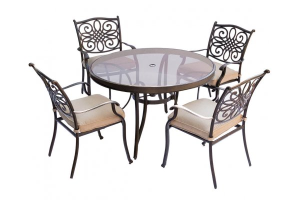 """Large image of Hanover Traditions 5-Piece Outdoor Dining Set In Tan/Bronze With 4 Dining Chairs, 48"""" Glass-Top Table - TRADDN5PCG"""
