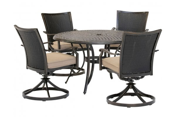 """Large image of Hanover Traditions 5-Piece Outdoor Dining Set In Tan/Bronze With 4 Wicker Back Swivel Rockers, 48"""" Round Cast Table - TRADDNWB5PCSWCTAN"""