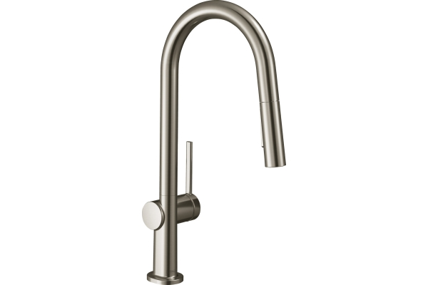 Large image of Hansgrohe Tails N A-Style 2-Spray HighArc Stainless Steel Pull-Down Kitchen Faucet - 72846801