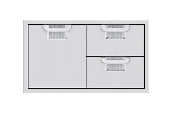 """Large image of Hestan Aspire 36"""" Steeletto Outdoor Combo Storage Door And Double Drawer - AESDR36"""