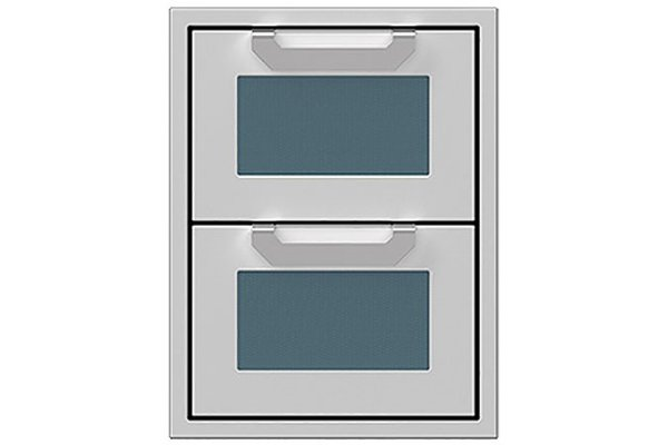 """Large image of Hestan 16"""" Pacific Fog Outdoor Double Storage Drawers - AGDR16-GG"""