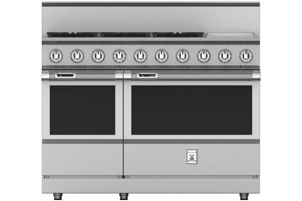 "Large image of Hestan KRD Series 48"" Steeletto 5-Burner Dual Fuel Range With 12"" Griddle - KRD485GD-NG"