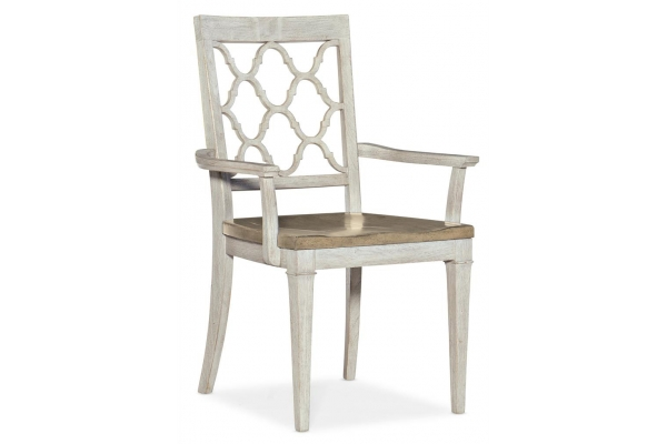 Large image of Hooker Furniture Dining Room Montebello Wood Seat Arm Chair - 6101-75300-02