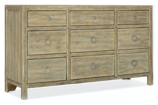 Large image of Hooker Furniture Bedroom Surfrider Nine-Drawer Dresser - 6015-90202-80