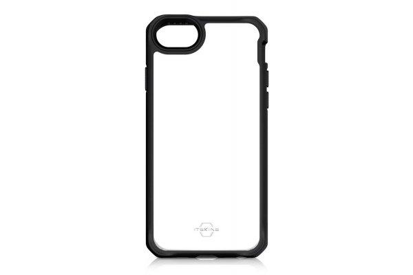 Large image of ITSKINS Hybrid Solid Black Transparent Case For Apple iPhone SE/8/7/6S - APS2-HYBSO-PBTR