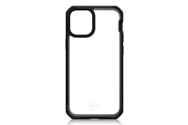 Large image of ITSKINS Hybrid Solid Black Transparent Case For Apple iPhone 12 & 12 Pro - AP3P-HYBSO-PBTR