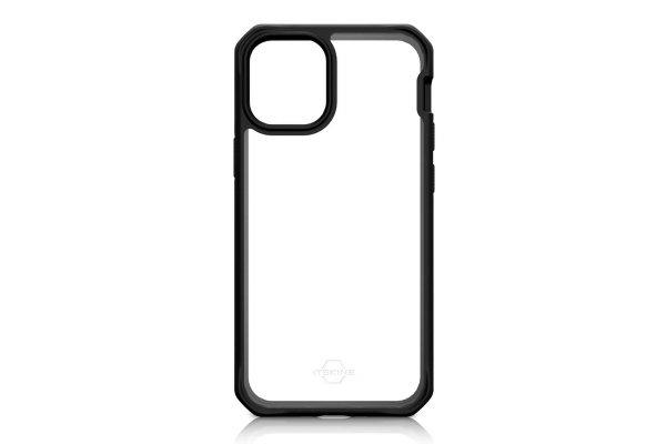 Large image of ITSKINS Hybrid Solid Black Transparent Case For Apple iPhone 12 mini - AP2G-HYBSO-PBTR