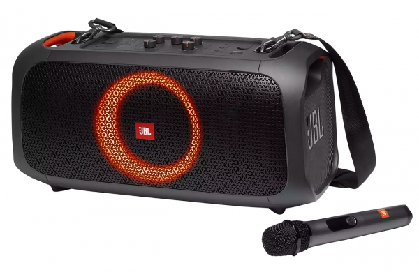 Large image of JBL PartyBox On-The-Go Black Powerful Portable Bluetooth Party Speaker With Dynamic Light Show - JBLPARTYBOXGOBAM