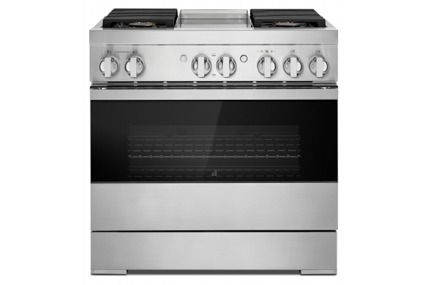 "Large image of JennAir NOIR 36"" Stainless Steel Professional Style With Chrome Infused Griddle Dual Fuel Range - JDRP536HM"