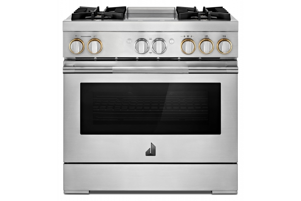 """Large image of JennAir RISE 36"""" Stainless Steel Professional-Style Dual-Fuel Range With Chrome-Infused Griddle - JDRP536HL"""
