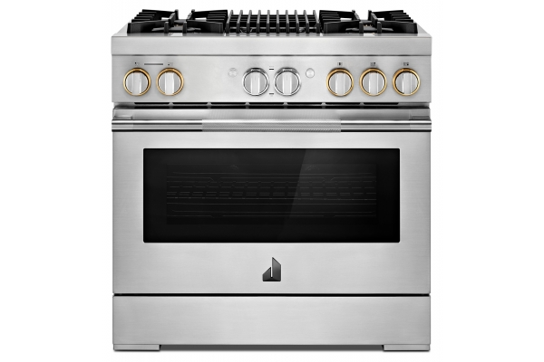 """Large image of JennAir RISE 36"""" Stainless Steel Professional-Style Dual-Fuel Range With Gas Grill - JDRP636HL"""