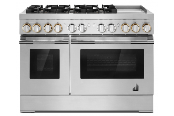 """Large image of JennAir RISE 48"""" Stainless Steel Dual-Fuel Professional-Style Range w/ Chrome Infused Griddle & Steam Assist - JDSP548HL"""
