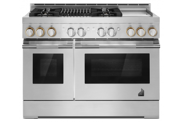 """Large image of JennAir RISE 48"""" Stainless Steel Professional Style With Chrome-Infused Griddle And Infrared Grill Gas Range - JGRP748HL"""