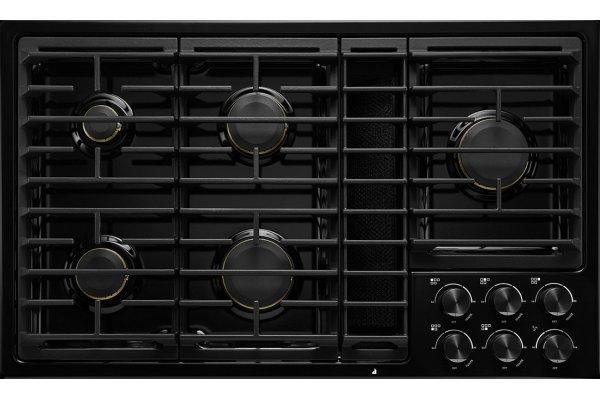 "Large image of JennAir 36"" JX3 Black Gas Downdraft Cooktop - JGD3536GB"
