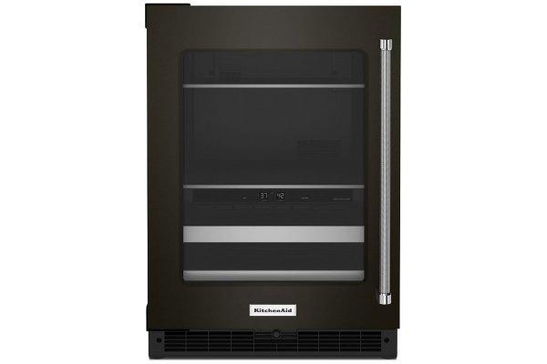 "Large image of KitchenAid 24"" Black Stainless Frame Left-Hinge Beverage Center With Glass Door And Metal-Front Racks - KUBL314KBS"