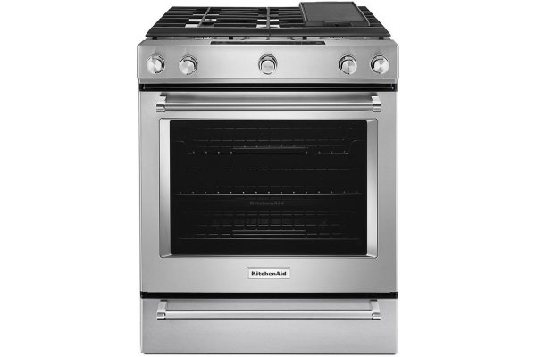 """Large image of KitchenAid 30"""" Stainless Steel Slide-In Convection Gas Range With Baking Drawer - KSGB900ESS"""