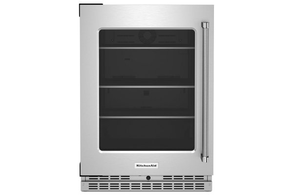 """Large image of KitchenAid 24"""" Stainless Frame Undercounter Refrigerator With Glass Door And Shelves With Metallic Accents - KURL314KSS"""