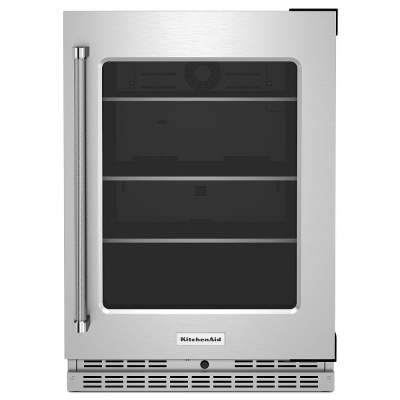 """KitchenAid 24"""" Stainless Frame Right-Hinge Undercounter Refrigerator With Glass Door And Shelves With Metallic Accents"""