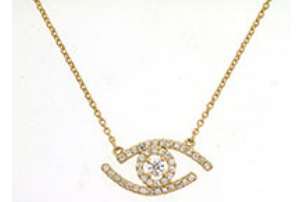 Large image of Royal Jewelry 14K Yellow Gold Diamond Necklace - H1063D