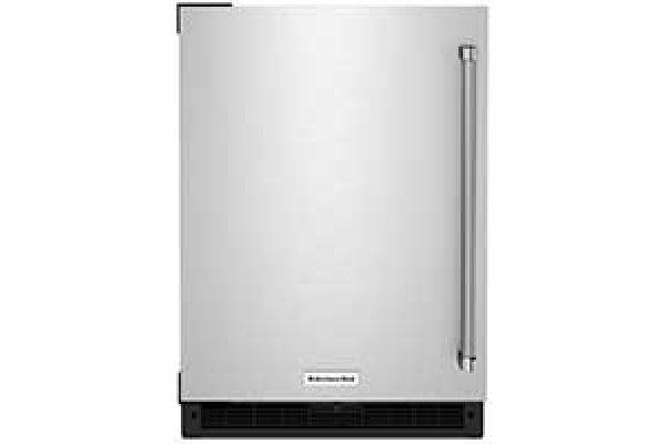 "Large image of KitchenAid 24"" Stainless Steel Left-Hinge Undercounter Refrigerator - KURL114KSB"