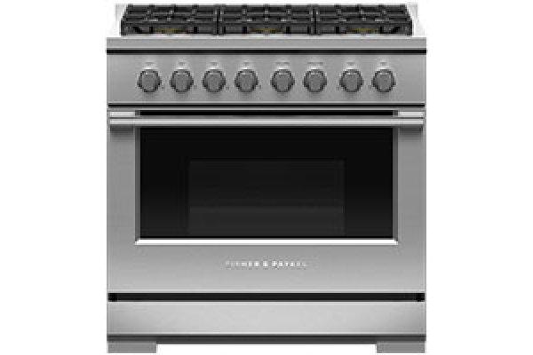 "Large image of Fisher & Paykel Professional Series 7 36"" Stainless Steel Gas Range - RGV3-366-N"