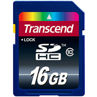 Transcend 16GB Secure Digital High-Capacity (SD)(SDHC) Class 10 Memory Card - TS16GSDHC10