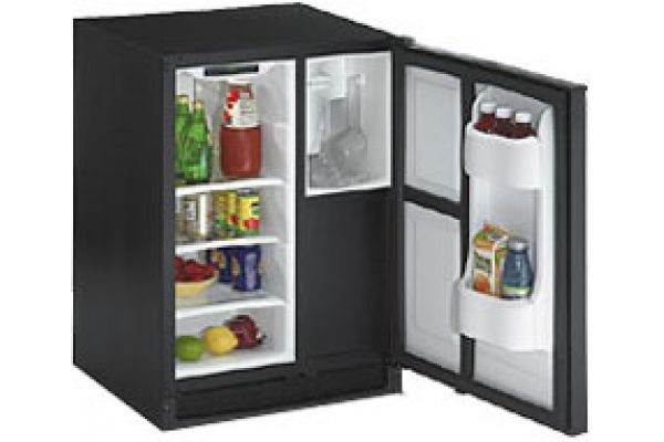 "U-Line 24"" Echelon Series Clear Combo Undercounter Ice Maker Refrigerator Combo - Black Finish - CLRCO2175PBK"