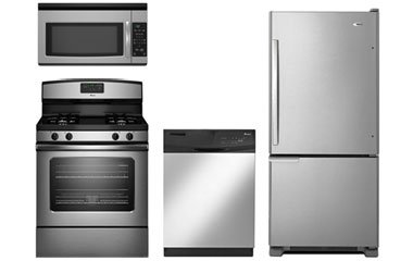 Amana Stainless Bottom Freezer Refrigerator With Gas Range