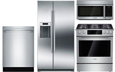 "Bosch 36"" Stainless Steel Counter-Depth Side-By-Side Refrigerator with Gas Range Package"