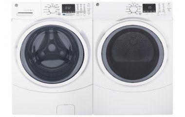 GE White Front Load Steam Washer and Gas Dryer Package