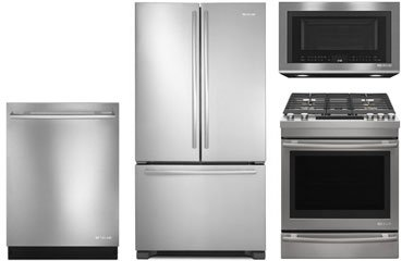 Jenn Air Counter Depth Stainless Steel Refrigerator With Gas Range