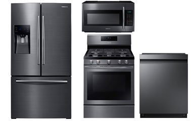 Samsung Fingerprint Resistant Black Stainless Steel Refrigerator and Convection Gas Range Package