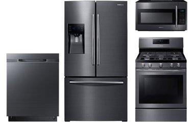 Samsung Black Stainless Steel Refrigerator And Gas Range