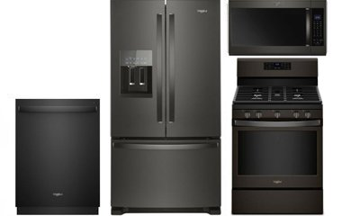 Whirlpool 25 Cu. Ft. Black Stainless Steel French Door Refrigerator with Gas Range Package