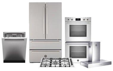 bertazzoni 5-piece stainless steel kitchen appliance