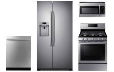 Samsung Stainless Steel Kitchen Appliance Package with Gas Range ...