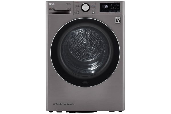 Large image of LG 4.2 Cu. Ft. Graphite Steel Smart Wi-Fi Enabled Compact Front Load Electric Dryer With Dual Inverter HeatPump Technology - DLHC1455V