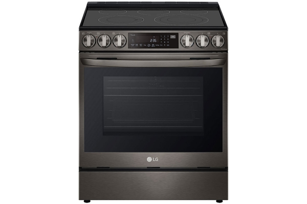 Large image of LG 6.3 Cu. Ft. PrintProof Black Stainless Steel Smart Wi-Fi Enabled ProBake Convection InstaView Electric Slide-In Range With Air Fry - LSEL6335D