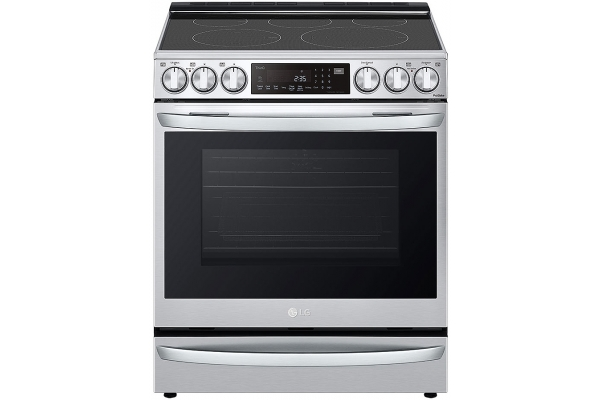 Large image of LG 6.3 Cu. Ft. PrintProof Stainless Steel Smart Wi-Fi Enabled ProBake Convection InstaView Electric Slide-In Range With Air Fry - LSEL6337F