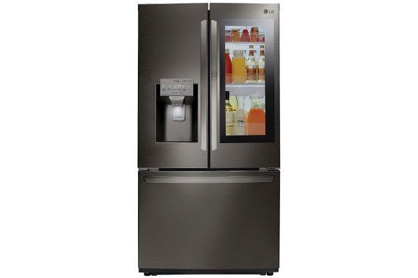 Large image of LG 26 Cu. Ft. PrintProof Black Stainless Steel Smart Wi-Fi Enabled InstaView Door-In-Door Refrigerator - LFXS26596D