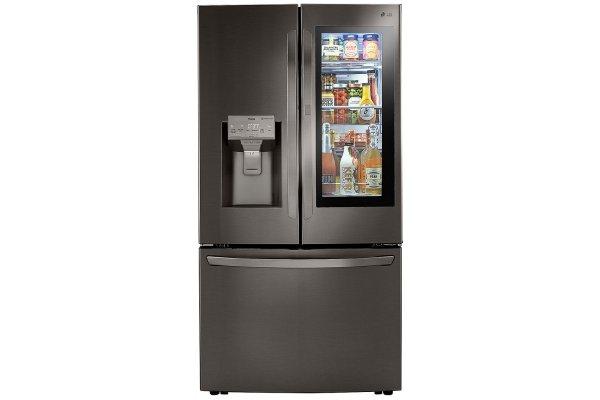 Large image of LG 24 Cu. Ft. PrintProof Black Stainless Steel Smart Wi-Fi Enabled InstaView Door-In-Door Counter-Depth Refrigerator With Craft Ice - LRFVC2406D