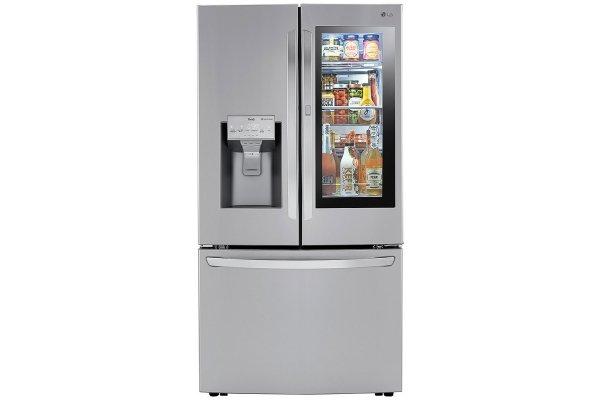 Large image of LG 24 Cu. Ft. PrintProof Stainless Steel Smart Wi-Fi Enabled InstaView Door-In-Door Counter-Depth Refrigerator With Craft Ice - LRFVC2406S