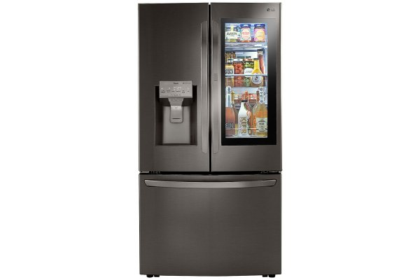 Large image of LG 30 Cu. Ft. PrintProof Black Stainless Steel Smart Wi-Fi Enabled InstaView Door-In-Door Refrigerator With Craft Ice Maker - LRFVS3006D