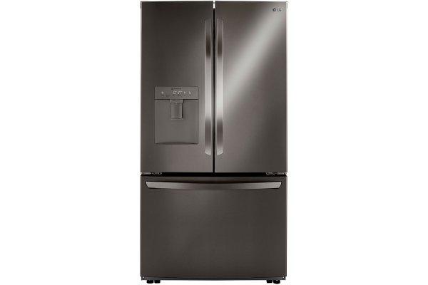 Large image of LG 29 Cu. Ft. PrintProof Black Stainless Steel 3-Door French Door Refrigerator - LRFWS2906D